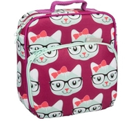 Insulated Lunch Tote with Side Pocket - Kitty with Bow
