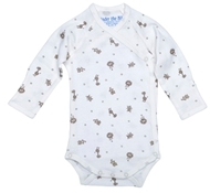 Long Sleeve Side Snap Organic Cotton Babybody - Animal Print - Nature's Nursery Collection