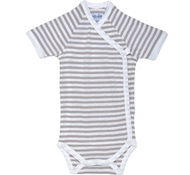 Under The Nile Short Sleeve Side Snap Babybody - Tan Stripe - Nature's Nursery Collection