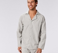 Coyuchi Men's Cloud Brushed Flannel Pajama Set in Blue Heather