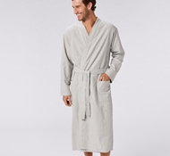 Unisex Cloud Brushed Flannel Robe - Pale Gray Heather