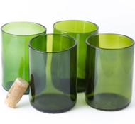 Recycled Wine Bottle Short Flat Bottom Drinking Glasses in Green (Set of 4)