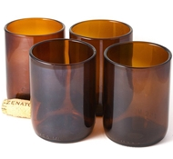 Recycled Wine Bottle Short Flat Bottom Drinking Glasses in Rootbeer (Set of 4)