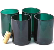 Recycled Wine Bottle Short Flat Bottom Drinking Glasses in Teal (Set of 4)