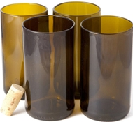 Recycled Wine Bottle Tall Flat Bottom Drinking Glasses in Olive (Set of 4)