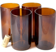 Recycled Wine Bottle Tall Flat Bottom Drinking Glasses in Rootbeer (Set of 4)