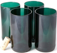 Recycled Wine Bottle Tall Flat Bottom Drinking Glasses in Teal (Set of 4)