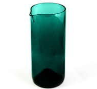 "Recycled Wine Bottle 7"" Flate Bottom Wine Carafe in Teal"