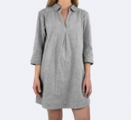 Coyuchi Organic Crinkle Sleepshirt in Dark Gray Chambray