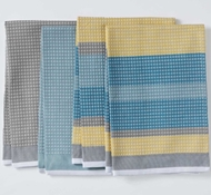 Coyuchi Striped Waffle Organic Kitchen Towels in Blues