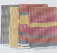 Coyuchi Striped Waffle Organic Kitchen Towels in Warms