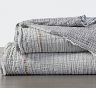 Topanga Organic Matelasse Blanket in Cool Stripe