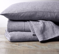 Coyuchi Organic Linen Chambray Sheet Set in Blue Chambray