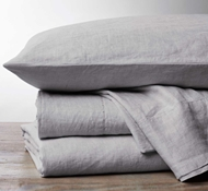 Coycuhi Organic Linen Chambray Sheet Set in Fog Chambray