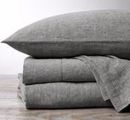 Coyuchi Organic Linen Chambray Sheet Set in Soft Black Chambray