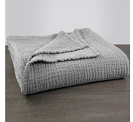 Coyuchi Organic Cotton Wave Matelasse Baby Blanket in Gray Chambray