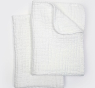 Coyuchi Organic Cotton Wave Matelasse Burp Cloths in Alpine White