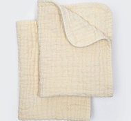 Coyuchi Organic Cotton Wave Matelasse Burp Cloths in Natural