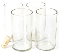 Recycled Wine Bottle Tall Flat Bottom Drinking Glasses in Clear (Set of 4)