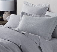 Coyuchi Organic Linen Chambray Pillowcases and Shams in Charcoal Stripe