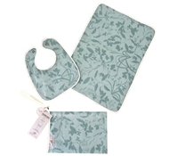 Whispering Grass Organic Cotton Bib & Baby Gift Set