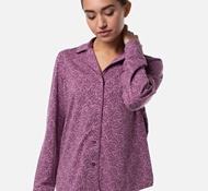 Women's Bamboo Long Sleeve Pajama Shirt - Mulberry Print