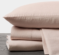 Organic Linen Chambray Sheet Set in Blush Chambray