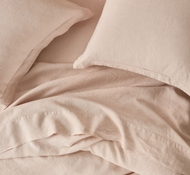 Organic Linen Chambray Pillowcase and Shams in Blush Chambray