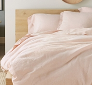 Organic Linen Chambray Duvet Cover in Blush Chambray
