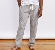 Men's Organic Crinkled Pajama Pant - Mid Gray Stripe