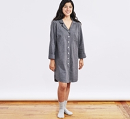 Women's Cloud Brushed Organic Flannel Sleep Shirt - Charcoal Heather