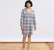 Women's Cloud Brushed Organic Flannel Sleep Shirt - Mid Gray Plaid