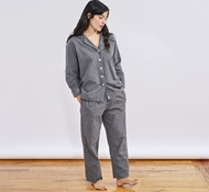 Women's Cloud Brushed Organic Flannel Pajama Set - Charcoal Heather