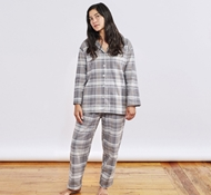 Women's Cloud Brushed Organic Flannel Pajama Set - Mid Gray Plaid