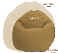 Adult Size Traditional Round Comfy Bean Bag Lounger - Cotton Cover - Recycled Non-Toxic Fill