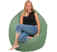 Adult Size Traditional Round Comfy Bean Bag Lounger - Hemp Cover - Eco Superfill