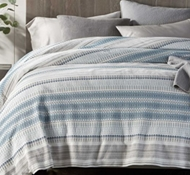 Coyuchi Lost Coast Organic Cotton Duvet Cover in Marine w/Grays