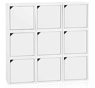 Eco Stackable Connect 9 Cube Storage with Doors, White
