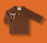 Kabuki Organic Cotton Baby Kimono Shirt in Chocolate Brown (6-12 mo)