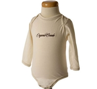 Embroidered Long Sleeve Ribbed Baby Bodysuit in Spice Brown