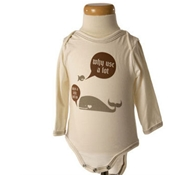 Long Sleeve Whale Jersey Cotton Baby Bodysuit in Spice Brown