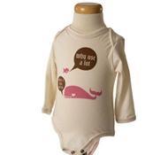 Long Sleeve Whale Jersey Cotton Baby Bodysuit in Blossom Pink